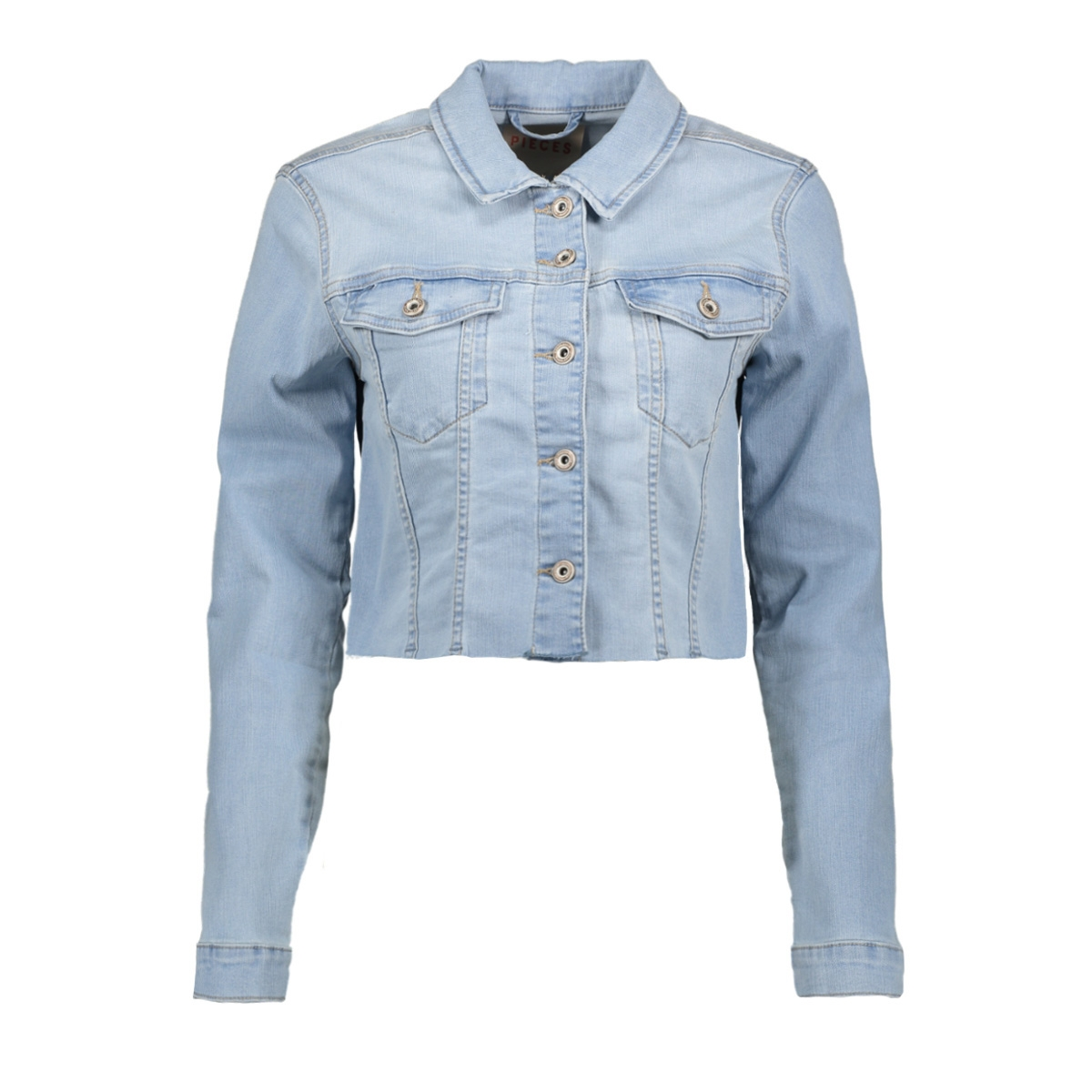 pcaia fitted ls cropped jacket lb15 17104839 pieces jas light blue denim