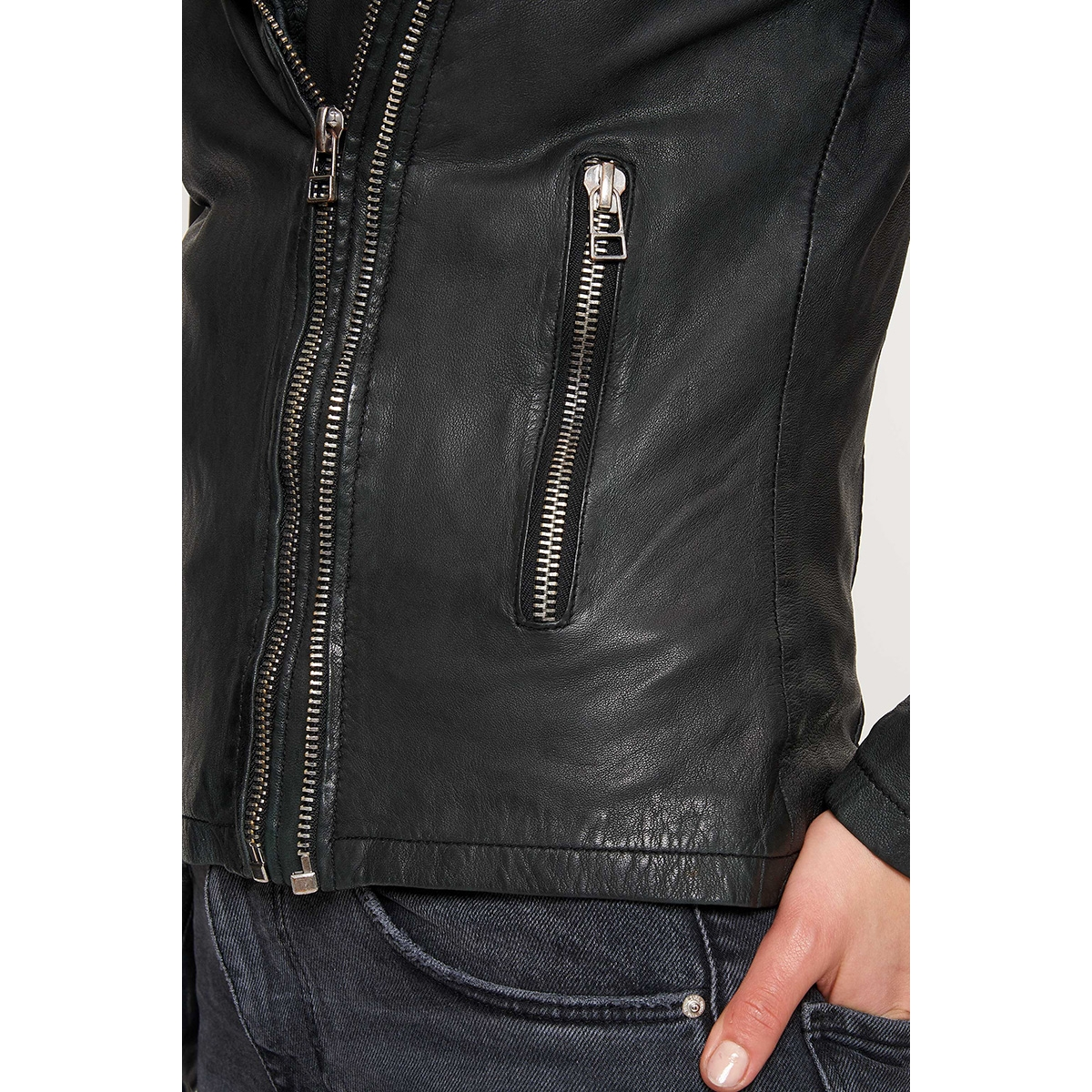 biker 513 100001010 goosecraft leren jas beach black