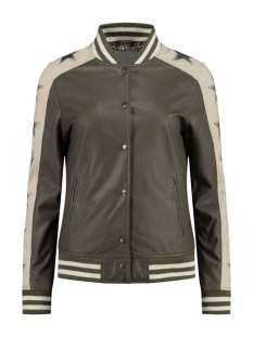 Goosecraft Leren jas GC BAILEY STAR BOMBER 102011015 SHOCKED OLIVE AND OFF WHITE