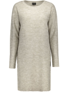 viriva rib dress-noos 14036027 vila jurk light grey melange