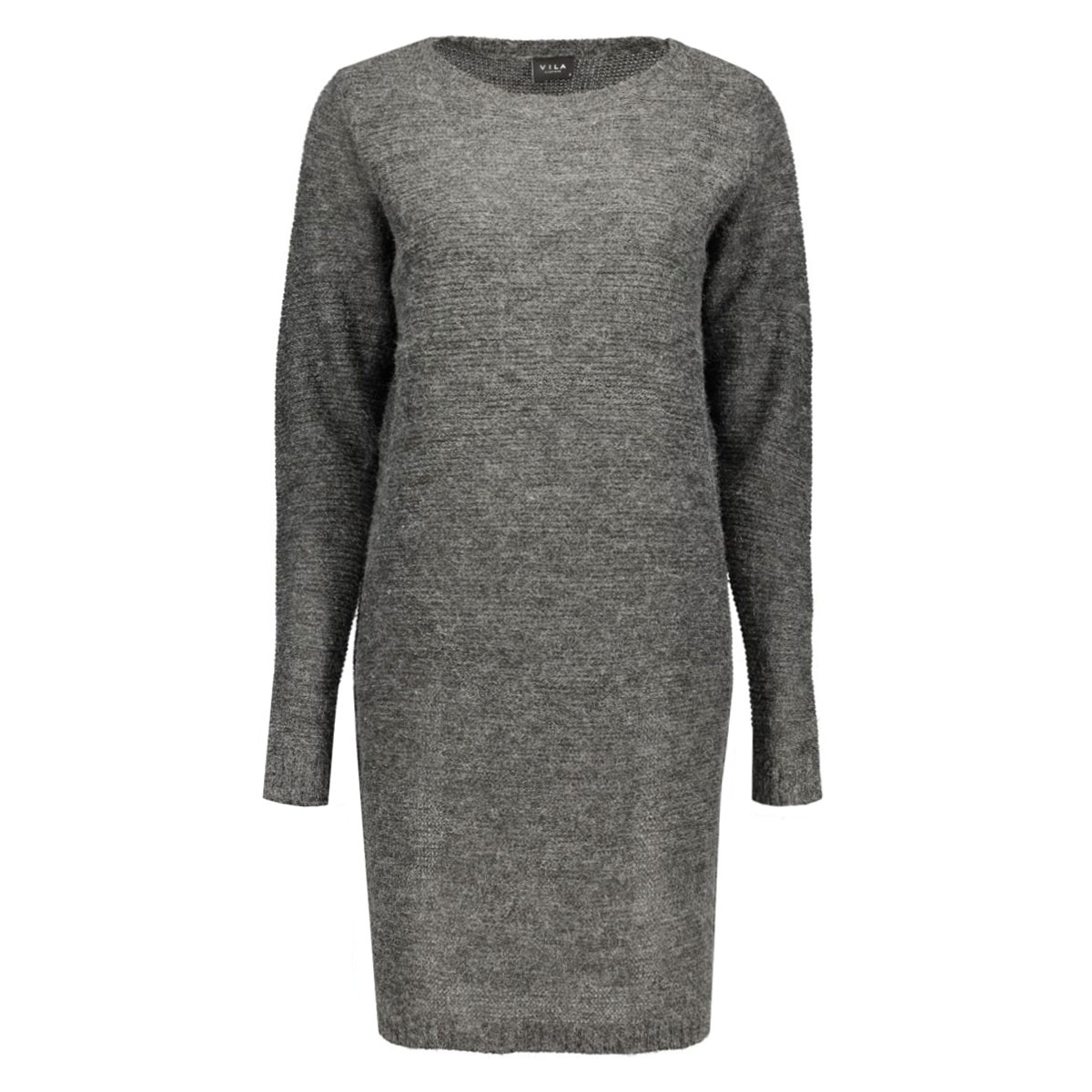 viriva rib dress-noos 14036027 vila jurk dark grey melange