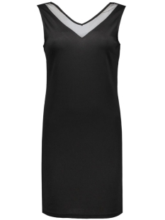 vitinny deep v-back s/l dress 14038402 vila jurk black