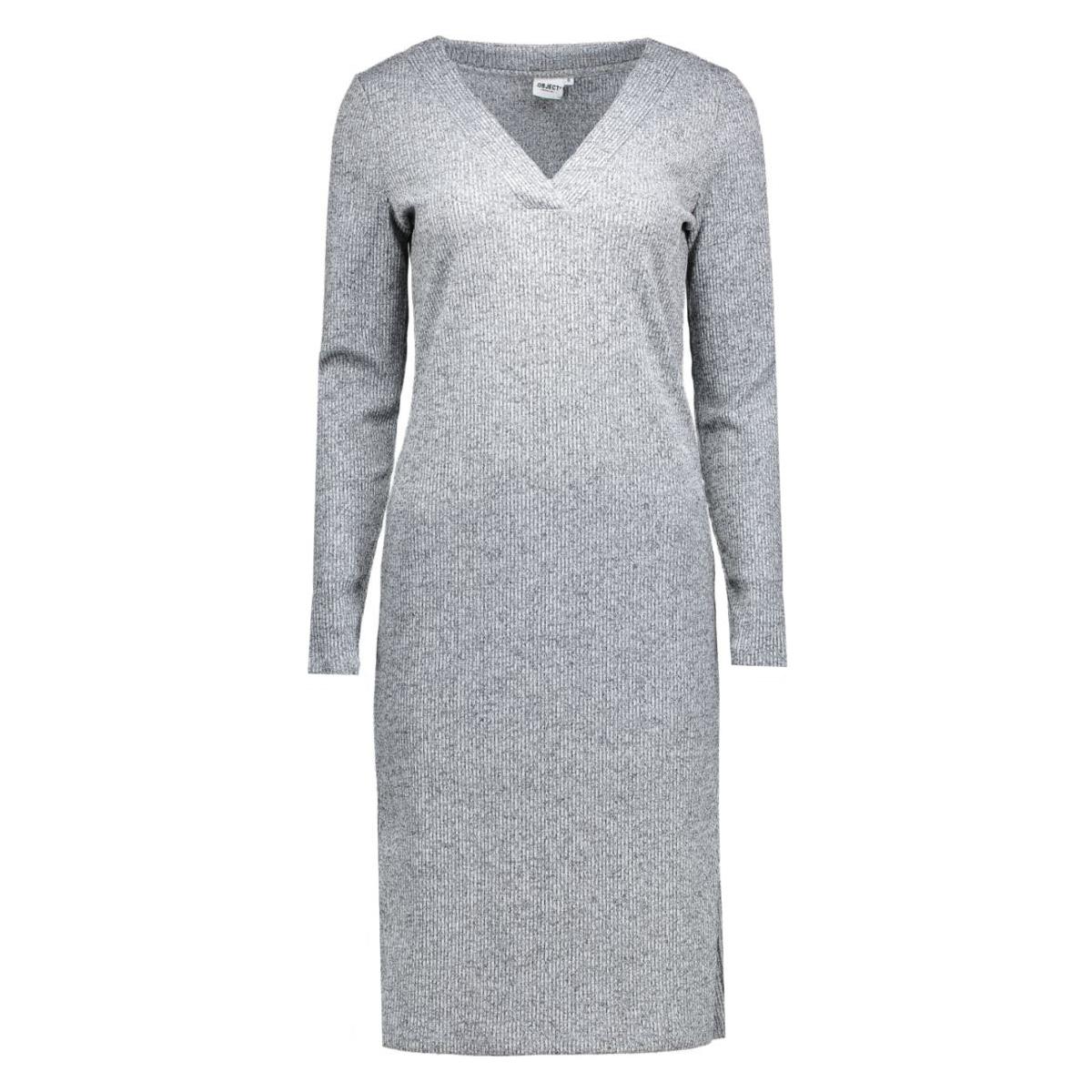 objtrish l/s long dress 87 23023084 object jurk medium grey melange