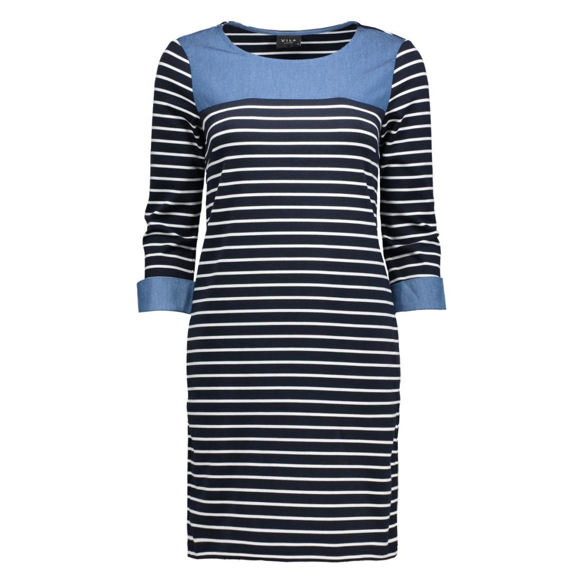 vitinny denim detail dress 14038401 vila jurk total eclipse/snow white