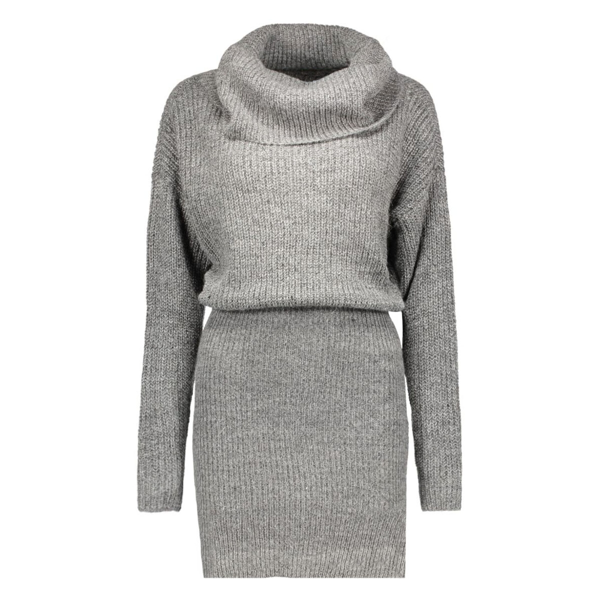 vimatchi rollneck knit dress 14037090 vila jurk dark grey melange