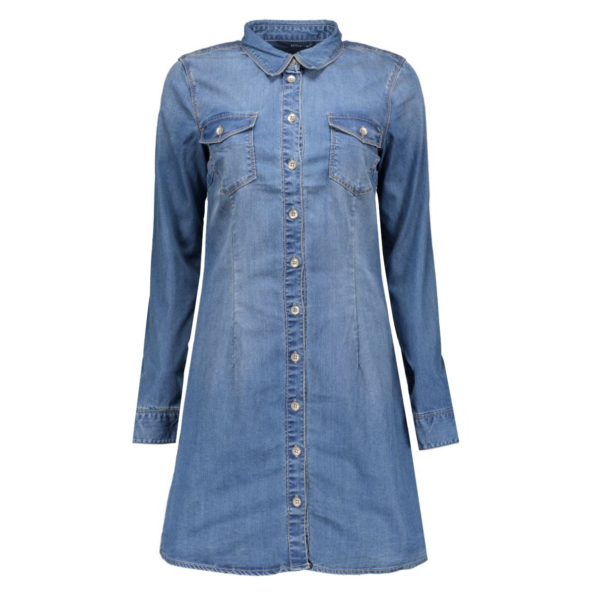 onllonni denim shirt dress qyt 15126844 only jurk medium blue denim