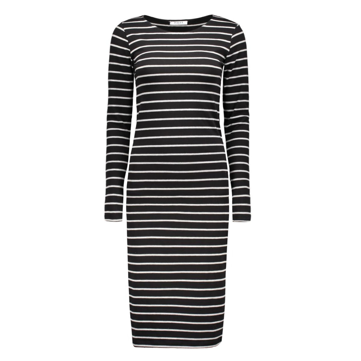pcmaith ls midi dress 17076569 pieces jurk light grey/black