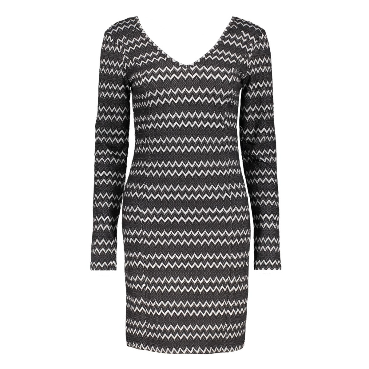 virigga l/s dress 14037180 vila jurk black/herringbon