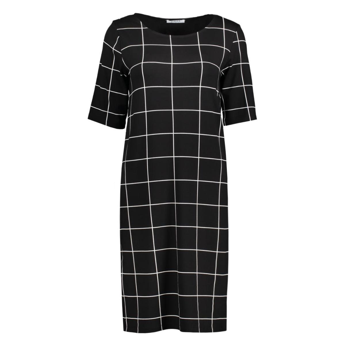 pcdamara  2/4 dress box 17079801 pieces jurk black/white