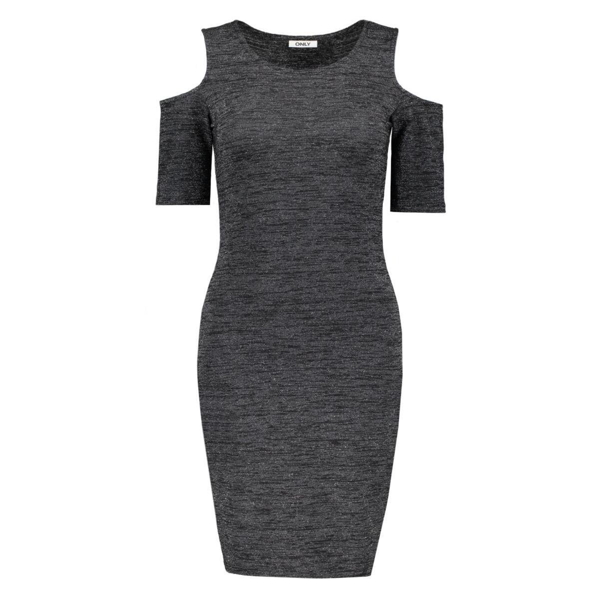 onlroma lurex 2/4 short dress jrs 15126114 only jurk black/with silver