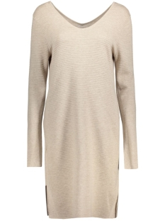 Object Jurk OBJNADINE NEW V-NECK KNIT DRESS 23023654 Cobblestone