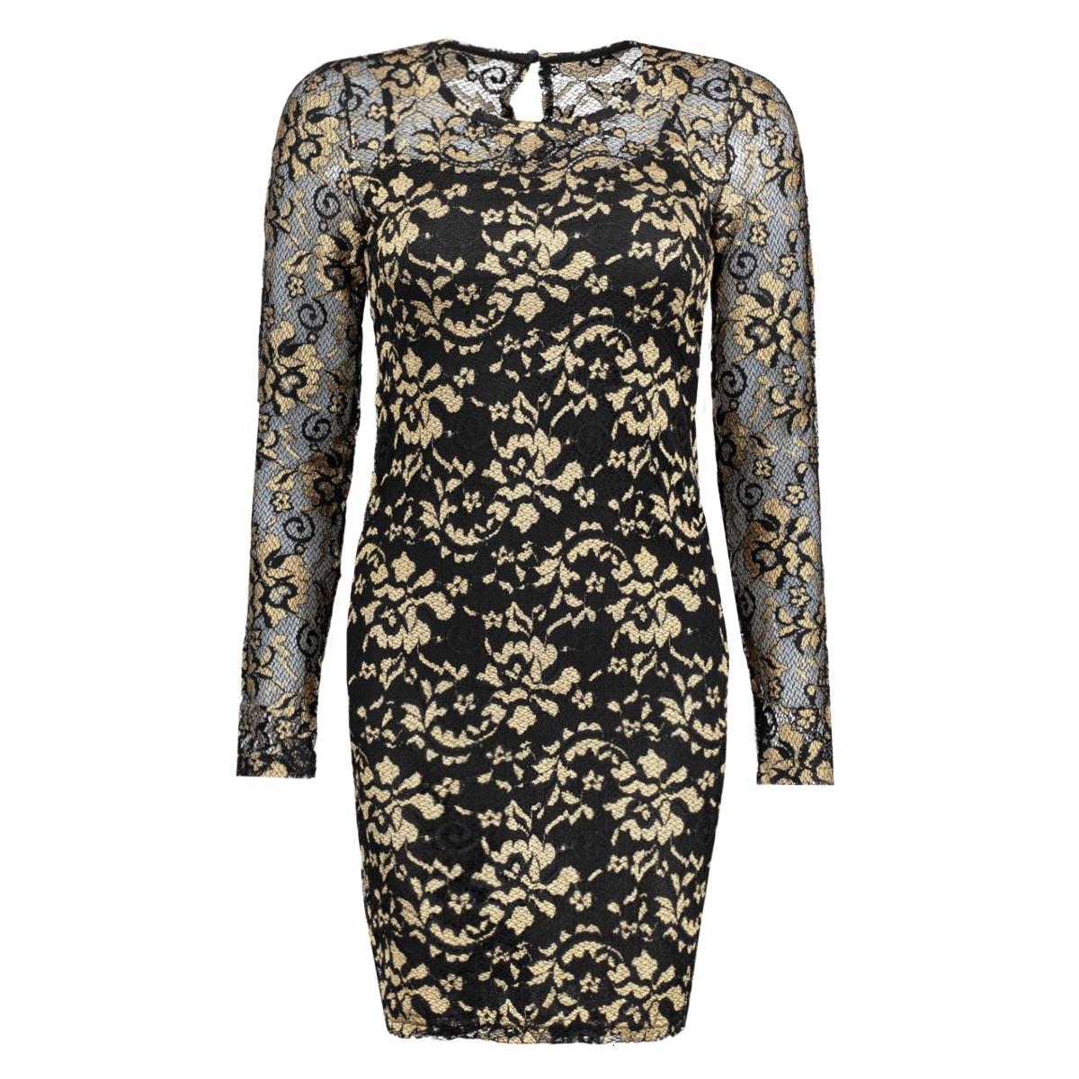 onlmarlie lace l/s dress jrs 15126244 only jurk black/apricot
