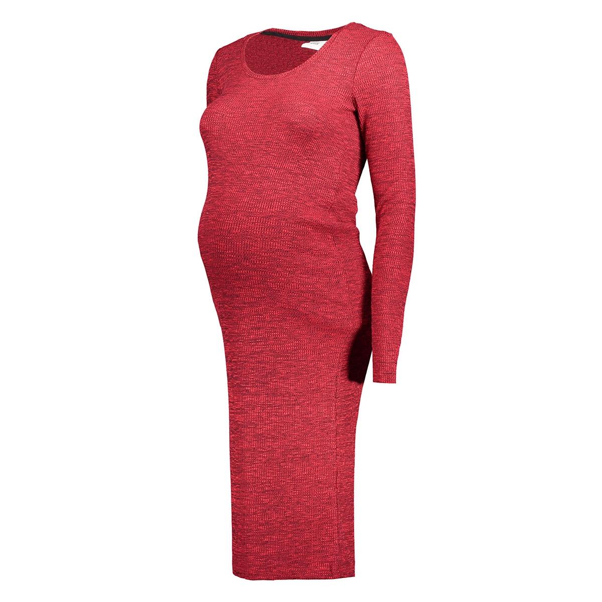 mlredo l/s rib knit dress 20006867 mama-licious positie jurk rio red