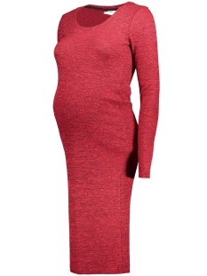 Mama-Licious Positie jurk MLREDO L/S RIB KNIT DRESS 20006867 Rio Red