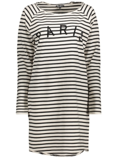 PARIS STRIPE DRESS ECRU/BLACK