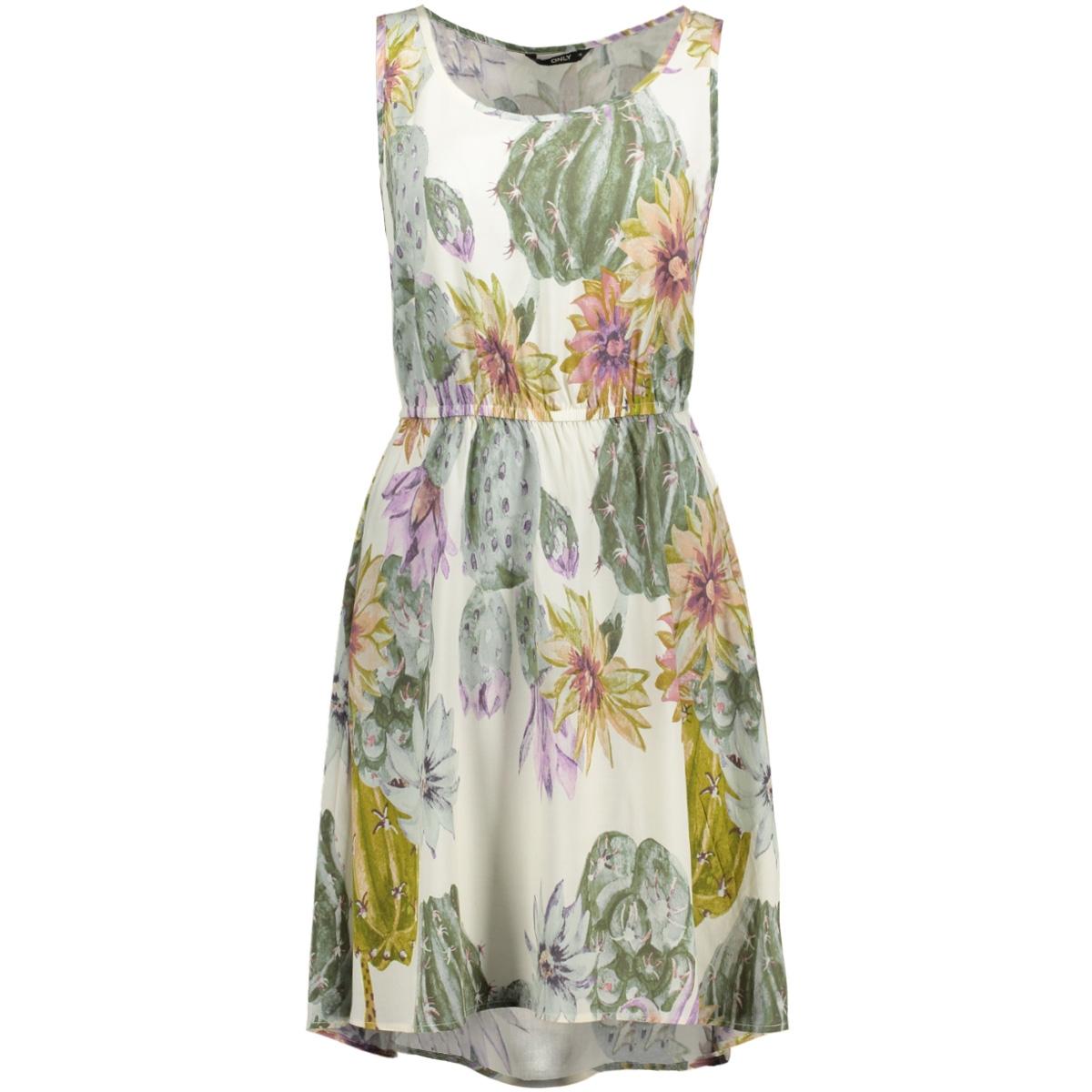 onlnova s/l sarah dress aop wvn 15137474 only jurk whisper white/ desert cactus