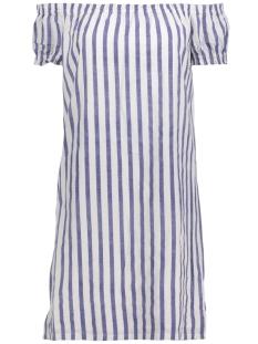 Vero Moda Jurk VMSTRIPY OFFSHOULDER DRESS A 10174207 Snow White/Denim Blue