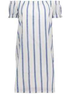 Vero Moda Jurk VMSTRIPY OFFSHOULDER DRESS A 10174207 Snow White/ Blue Wide