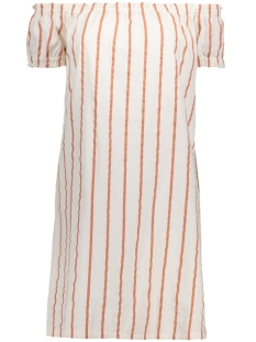 Vero Moda Jurk VMSTRIPY OFFSHOULDER DRESS A 10174207 Snow White/Cedar Wood
