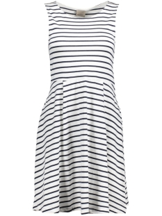 Vero Moda Jurk VMOSLO STRIPE S/L SHORT DRESS D2-3 10178157 Snow White/Navy Blazer