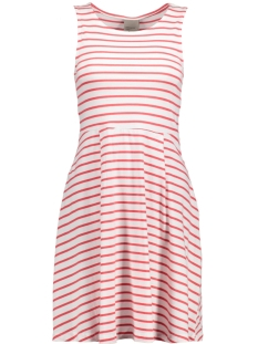 Vero Moda Jurk VMOSLO STRIPE S/L SHORT DRESS D2-3 10178157 Snow White/Hibiscous