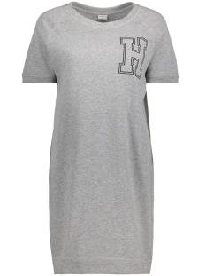 Jacqueline de Yong Jurk JDYPETUNIA S/S PRINT DRESS JRS 15131797 Light Grey Melange/ H Embroidery
