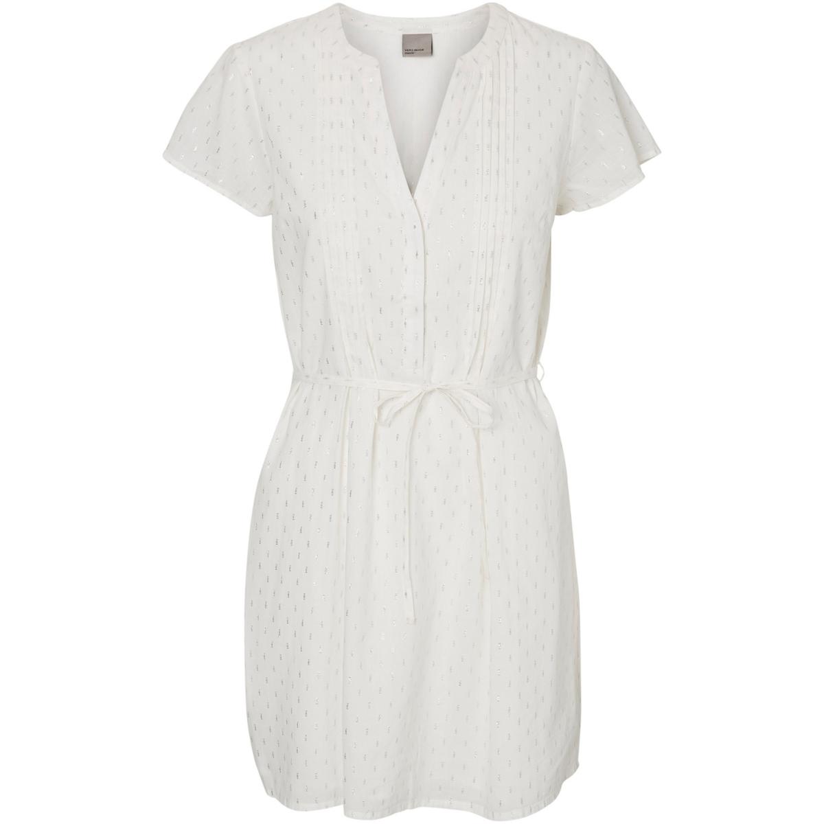 vmsilver capsleeve short dress 10181608 vero moda jurk snow white