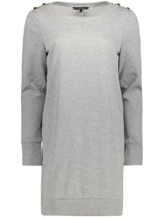 vmava ls boatneck button short dress 10182622 vero moda jurk light grey melange