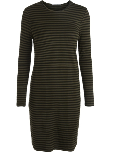 Pieces Jurk PCRAYA ROUND NECK DRESS 17085976 Dark Olive/Black