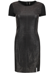 Only Jurk onlCAMPBELL FAUX LEATHER MIX DRESS 15137635 Black