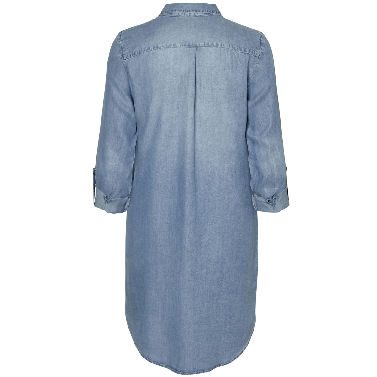 vmsilla ls short dress lt bl ga noos 10184172 vero moda jurk light blue denim