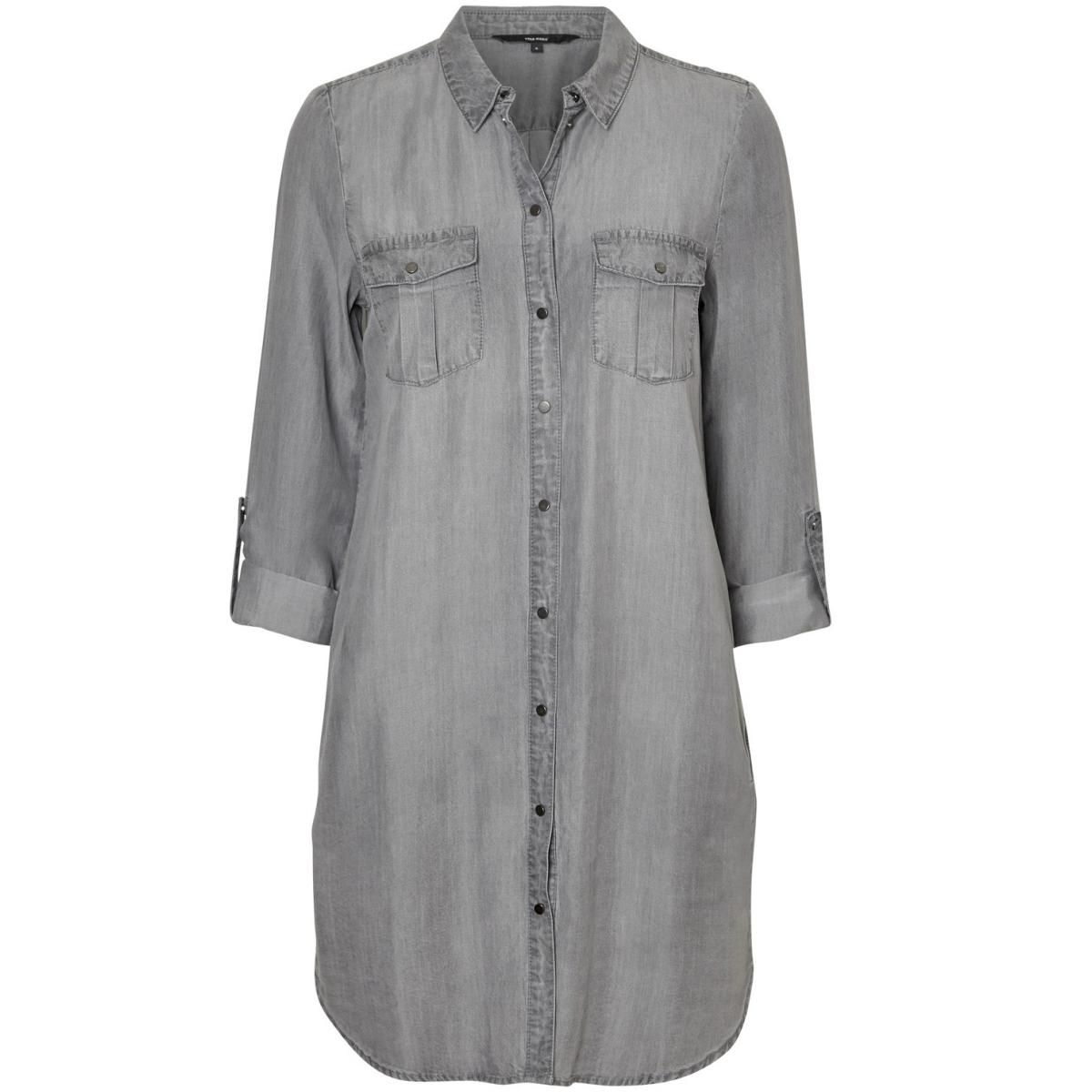 vmsilla ls grey short dress ga noos 10184178 vero moda jurk light grey denim