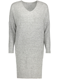 Only Jurk onlMAYE L/S V-NECK DRESS KNT 15143530 Light Grey Melange