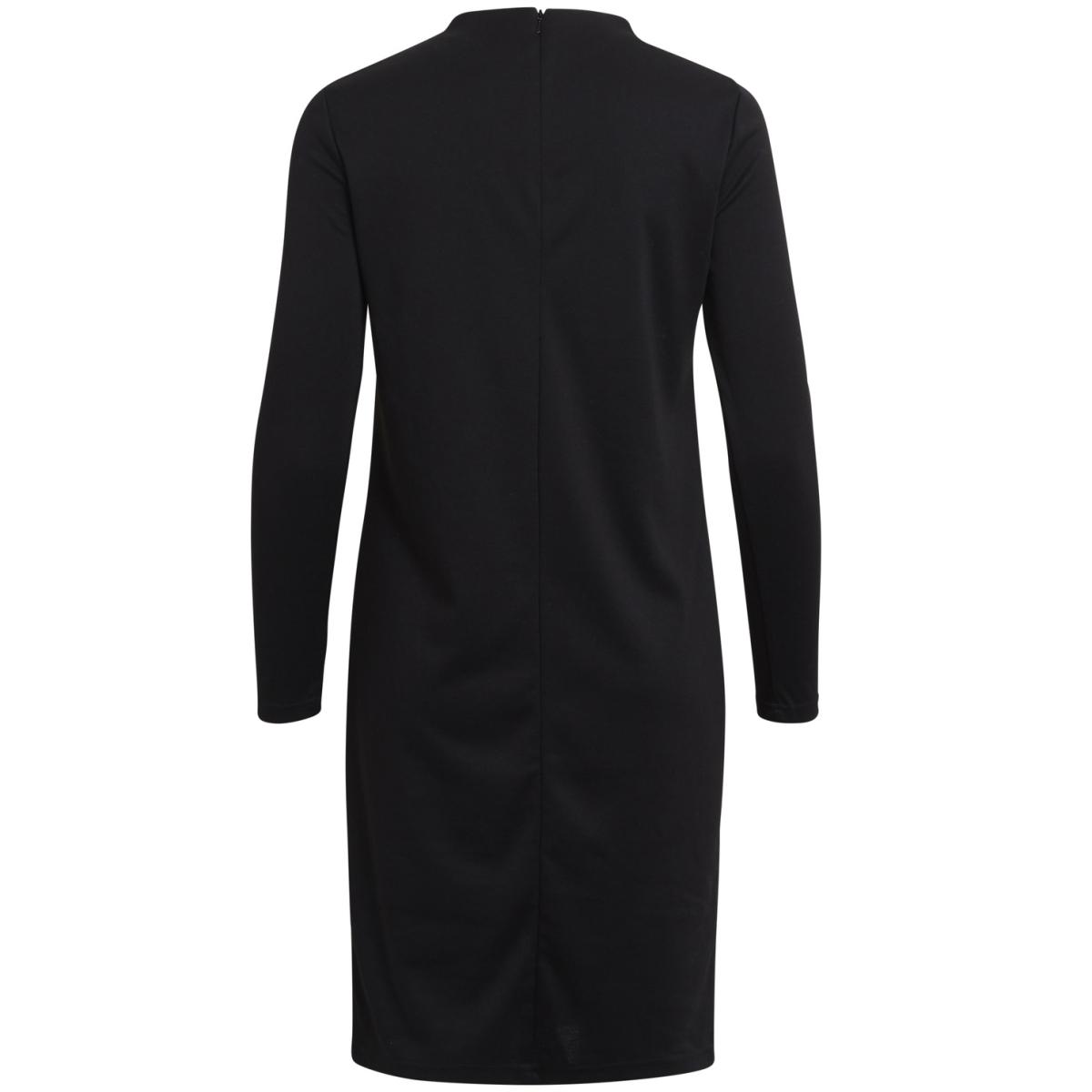 vifaunas l/s high neck dress-noos 14042374 vila jurk black