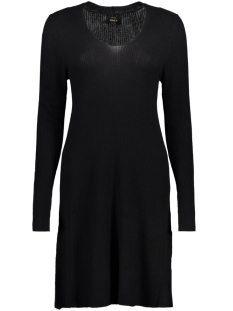 Only Jurk onlMONA L/S RIB DRESS KNT 15141878 Black