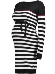 Mama-Licious Positie jurk MLANIC L/S KNIT DRESS 20007567 Black/SNOWWHITE