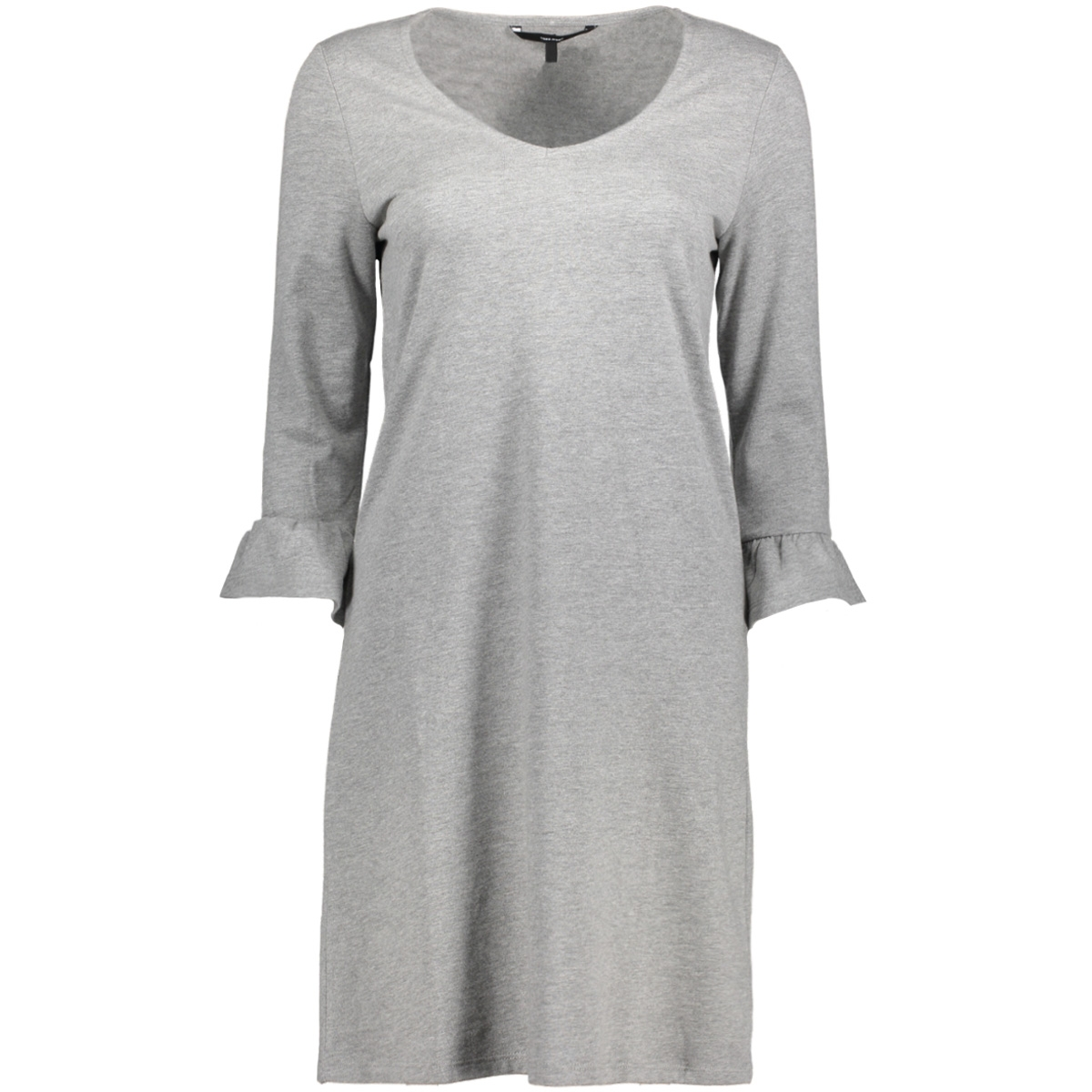 vmserena 3/4 frill short dress swt 10185852 vero moda jurk light grey melange
