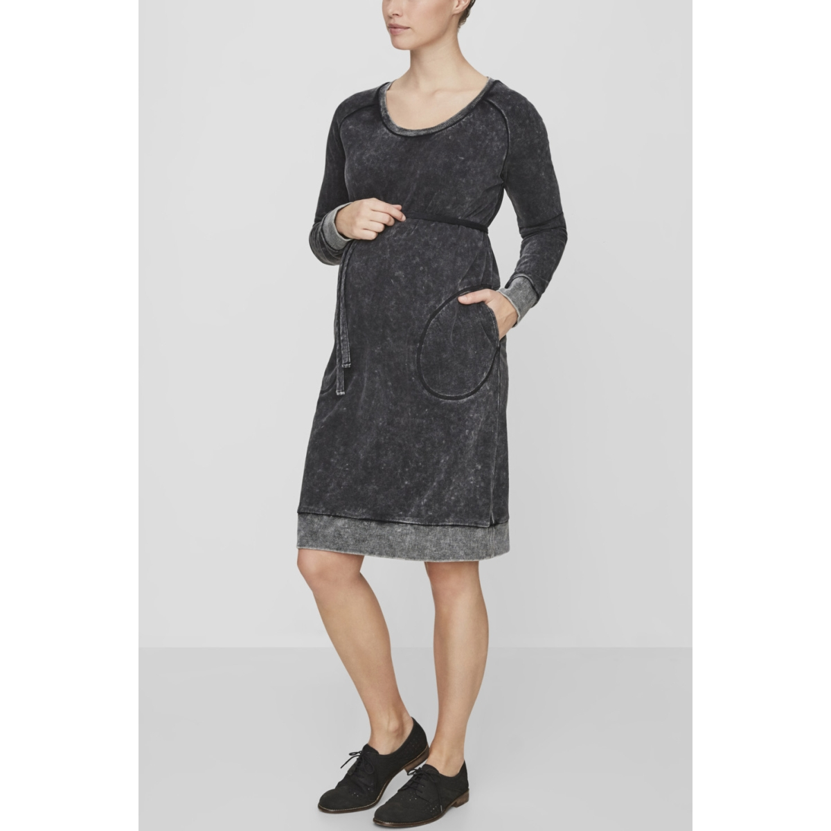 mljamille l/s above knee dress 20007681 mama-licious positie jurk black/washed