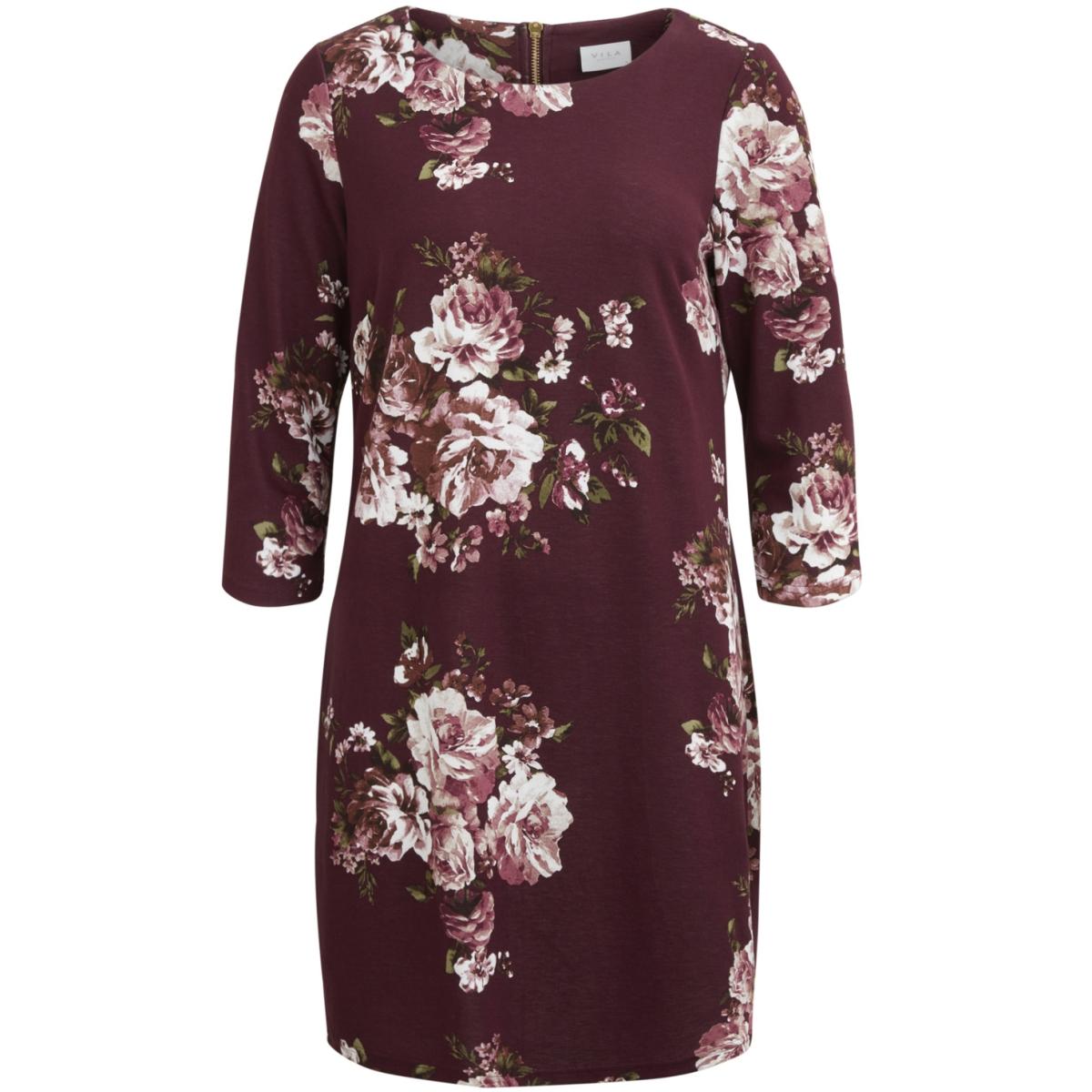 vitinny 3/4 print  dress/rx 14046576 vila jurk fig/bloomia
