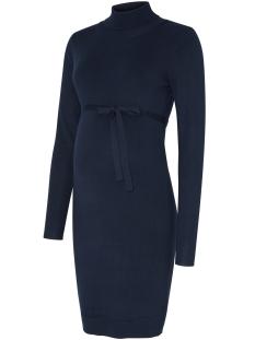 Mama-Licious Positie jurk MLJACINA L/S KNIT ROLLNECK DRESS 20004689 Medieval Blue