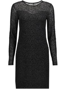Only Jurk onlLEO FLOCK L/S DRESS ESS 15143378 Black/Leo