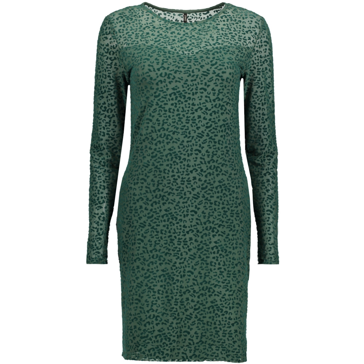 onlleo flock l/s dress ess 15143378 only jurk dark green/leo
