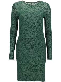 Only Jurk onlLEO FLOCK L/S DRESS ESS 15143378 dark Green/Leo