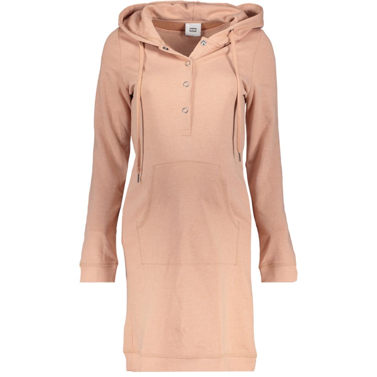 mlkatinka lia l/s jersey dress nf 20008018 mama-licious positie jurk mahogany rose / melange