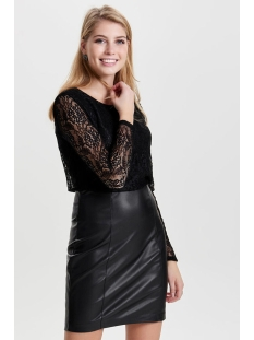 onllea l/s faux leather lace dress 15143815 only jurk black