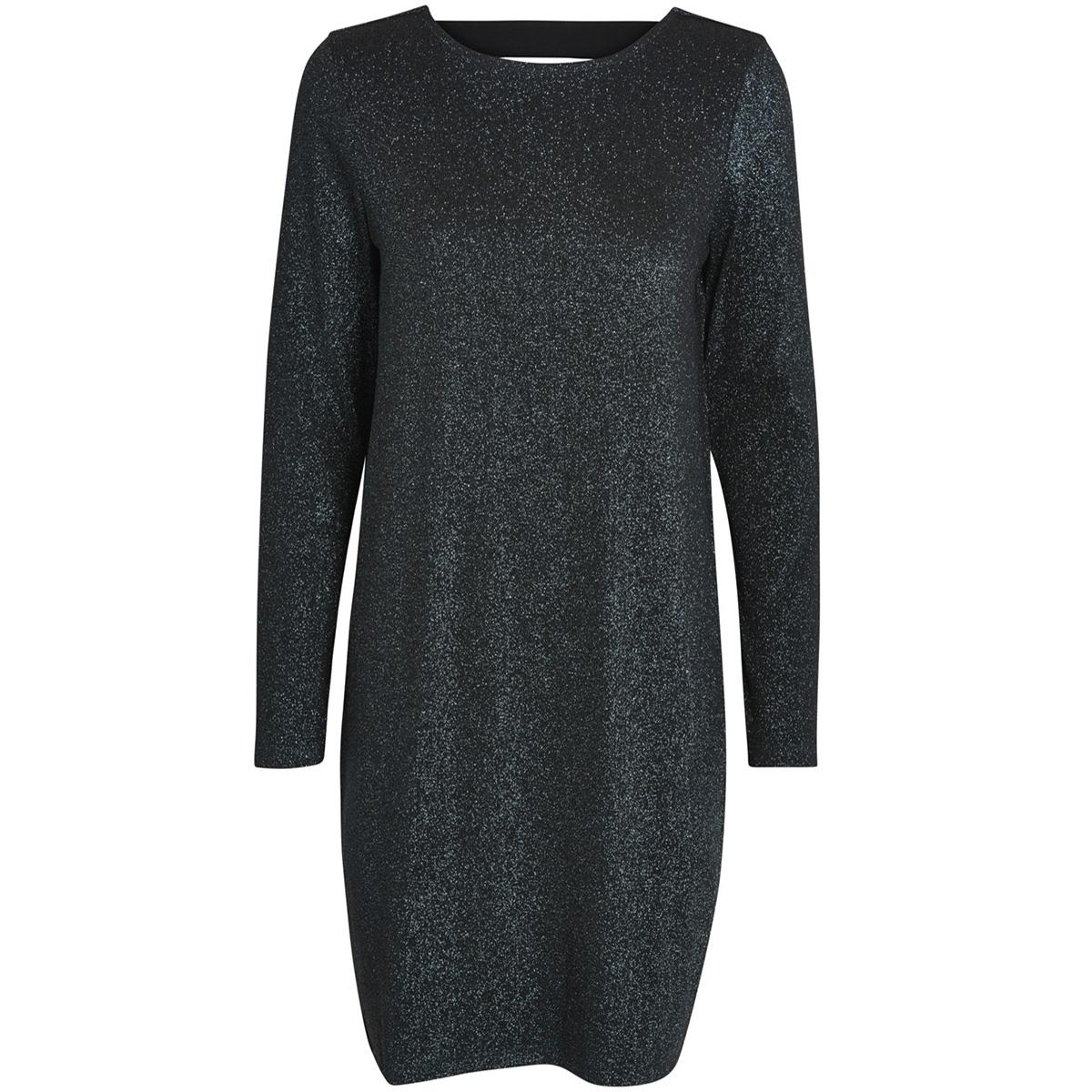 pcannabella ls glitter deep back dress 17086174 pieces jurk black/turquise l