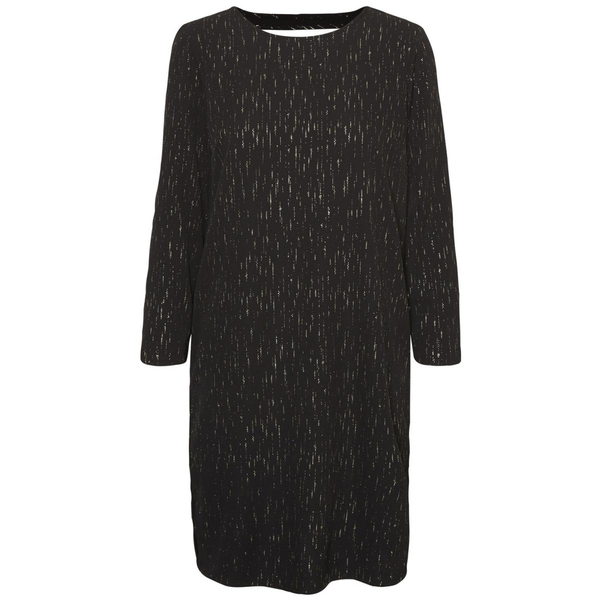 vmbali foil v-neck 3/4 short dress 10197163 vero moda jurk black gold foil