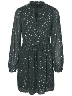 Vero Moda Jurk VMDIVIA DOT FRILL LS SHORT DRESS FD 10198235 Green Gables / Silver Dots