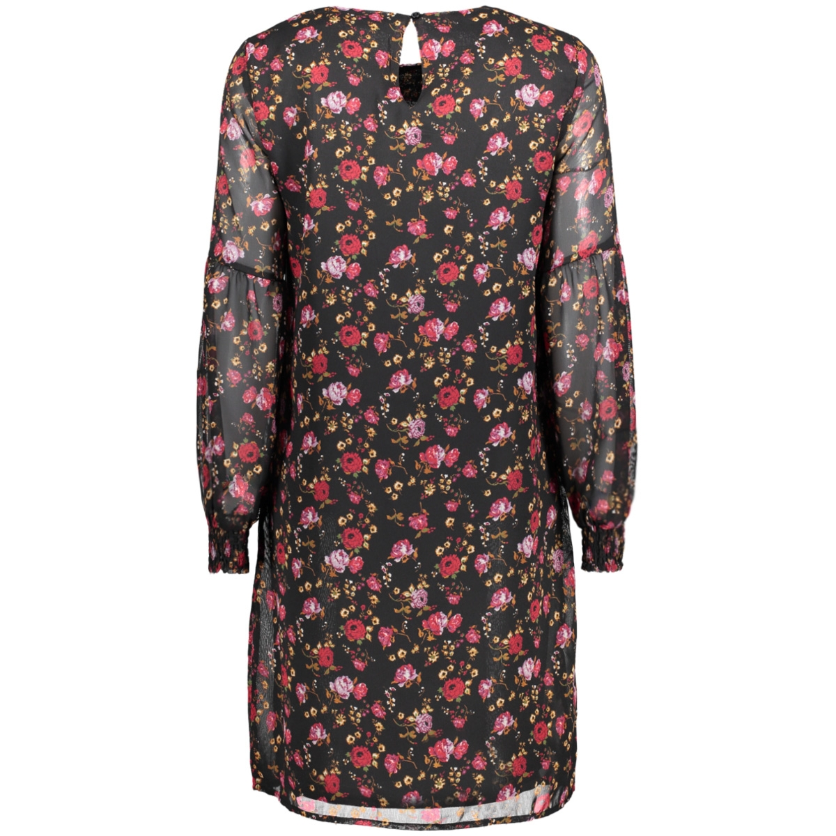 vmrose ls abk dress 10190992 vero moda jurk black/rood