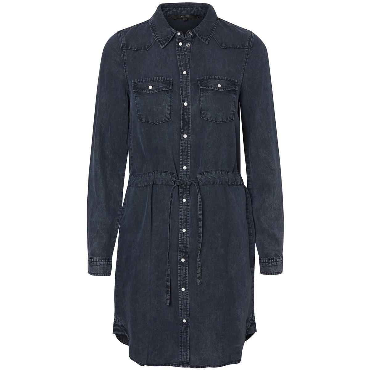 vmspace ls shirt dress 10189827 vero moda jurk dark blue denim